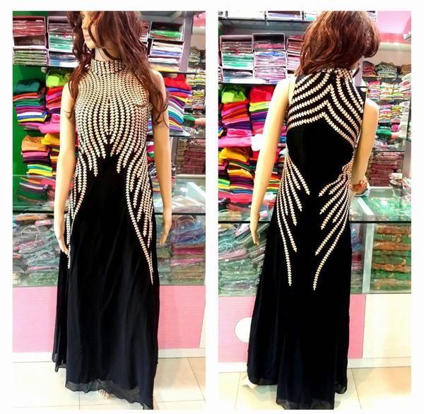 LadyIndia.com # Dress Material, 108030_Designer Black Georgette Embroderied Semi-Stitched Long Kurti, Salwar Suit, Dress Material, https://ladyindia.com/collections/ethnic-wear/products/108030_designer-black-georgette-embroderied-semi-stitched-long-kurti