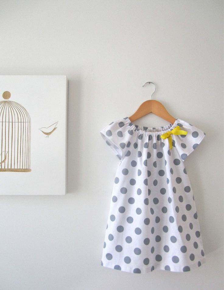 Toddler Girls Peasant Dress White and Grey Polka Dots with a Yellow Ribbon-linen/cotton-baby-Children Clothing by Chasing Mini. $42.00, via Etsy.