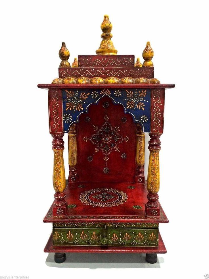 Wooden Handcrafted Hindu Pooja Ghar Temple Mandir Mandapam For Worship  J8786 | Collectibles, Religion U0026