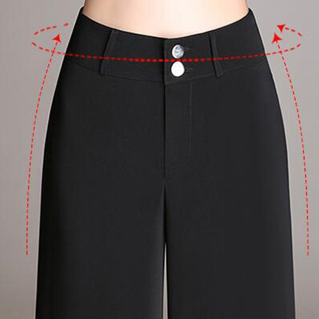 New Arrival Fashion Office Lady Pants Woman Elegant Button Design High Waist Long Trousers Wide Leg Casual Pants
