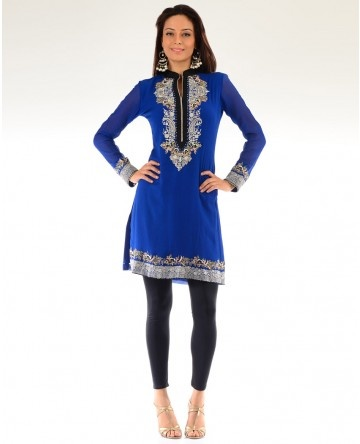 Electric Blue Suit with Embroidered Yoke