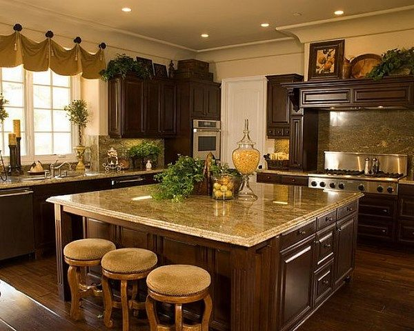 Elegant curtains for big kitchens - Cortinas elegantes para cocinas grandes