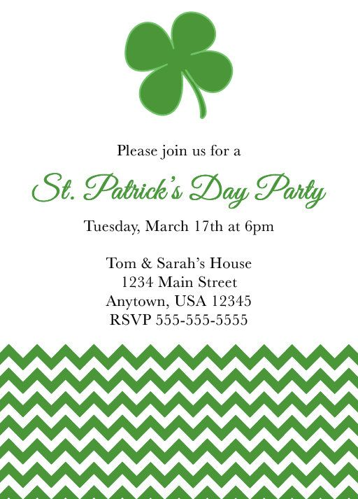 St. Patrick's Day Party, Chevron, Four Leaf Clover, Eat, Drink Be Irish, Lucky, St. Patty, Leprechaun, Lucky, Theme Party, Personalized by NestedExpressions