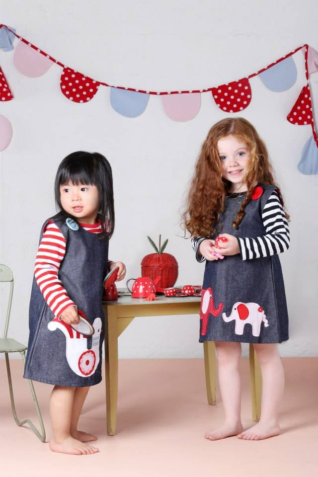 Elephant appliqué pinafore dress