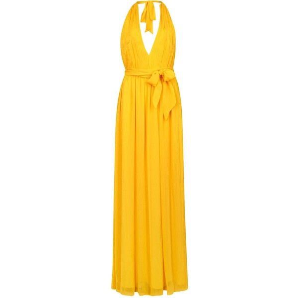 Womens Gowns Alice + Olivia Kassidy Halterneck Chiffon Maxi Dress (£360) ❤ liked on Polyvore featuring dresses, gowns, maxi gowns, maxi dresses, yellow gown, yellow ball gown and halter gown