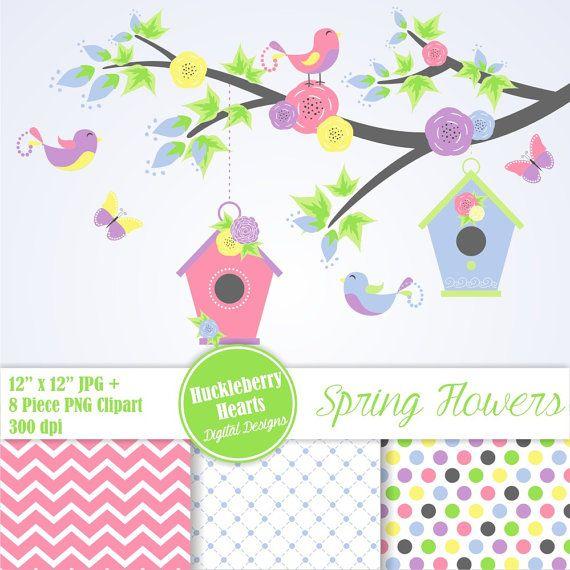Flower Clipart, Digital Flower Paper, Floral Clipart, Spring Flower Clipart, Baby Shower Clipart Paper