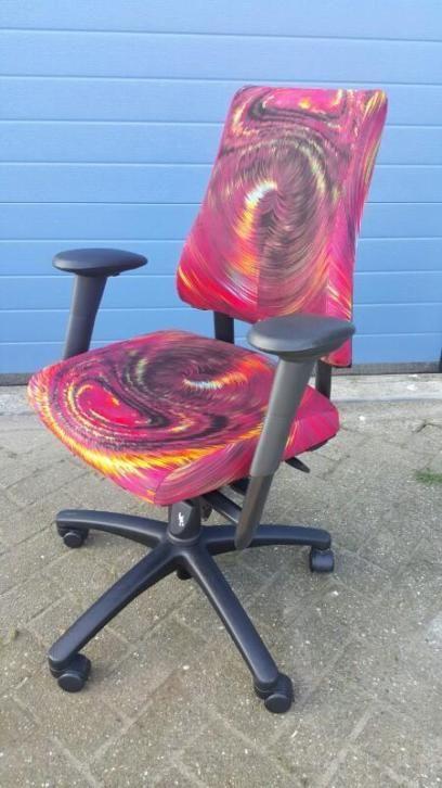 Axia bureaustoel met kunst Stoffering rood Velours