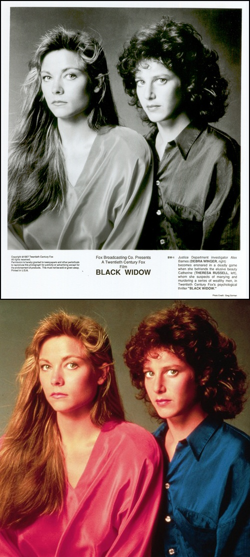 Theresa Russell as 'Catharine Petersen' & Debra Winger as 'Alex Barnes' in Black Widow (1987)