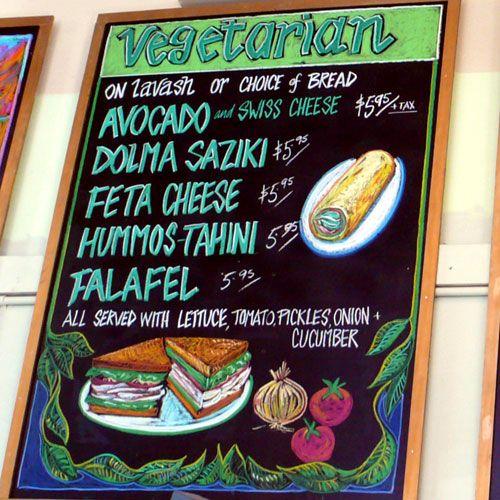 hand lettered chalkboard menu