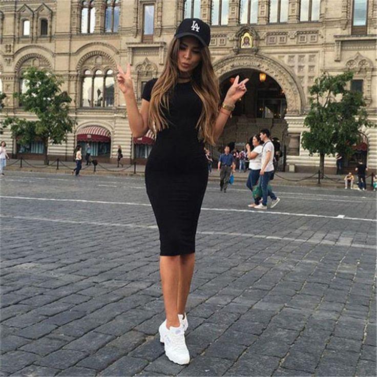 O pescoço Moda 2016 Sexy 3 Cores Mulheres Outono Vestido Curto luva Sólidos Casual Vestidos Simples Para Cobrir Os Quadris Vestido de Escritório mulheres em Vestidos de Das mulheres Roupas & Acessórios no AliExpress.com   Alibaba Group