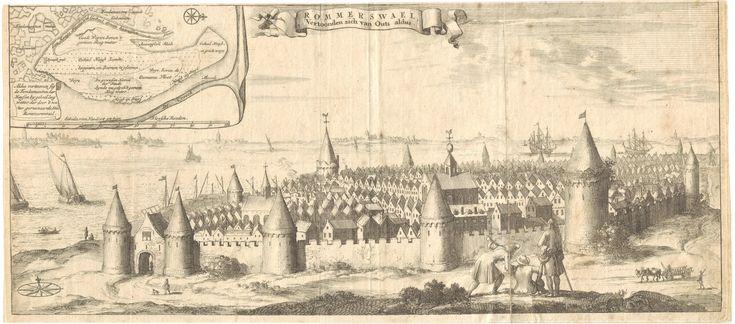 Reimerswaal zoals het er moet hebben uitgezien vanaf land vóór 1570
