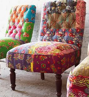 hand pieced fabrics tufted on low slung chairs. Perhaps wingbacks?