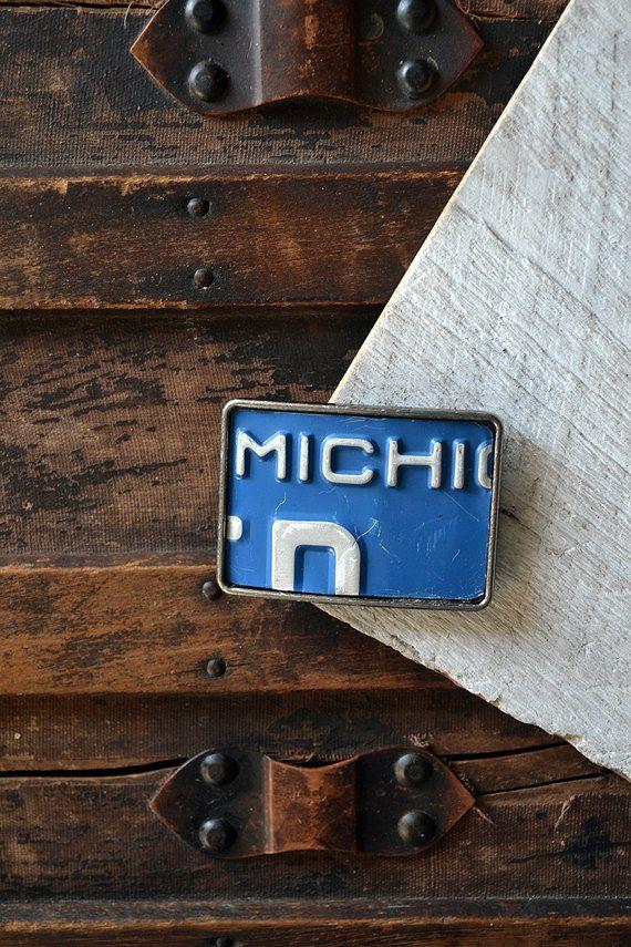 Michigan License Plate Belt Buckle  Detroit Motor by #Keytiques #BeltBuckle #SmallBusiness #Michigan #LicensePlate #Handmade #MensAccessories #EtsyFinds