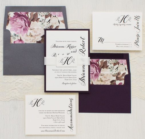 Pretty plum, ivory and gray calligraphy monogram wedding invites complete with custom floral envelope liners. New from Beacon Lane!