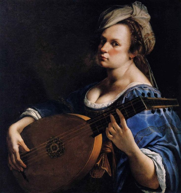 Artemisia Gentileschi, Self-Portrait as a Lute Player, c. 1615-1617, Minneapolis, Curtis Galleries, oil on canvas (via Storie dell'arte on Twitter)