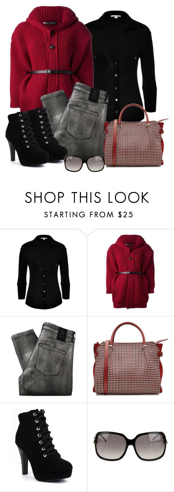 """""""Untitled #1222"""" by gallant81 ❤ liked on Polyvore featuring James Perse, Dsquared2, 2nd Day, Nina Ricci and Gucci"""