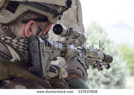 Soldier aim target - stock photo