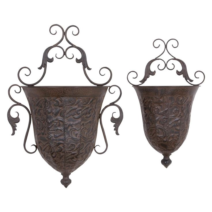 DecMode Metal Wall Planter - Set of 2 | from hayneedle.com