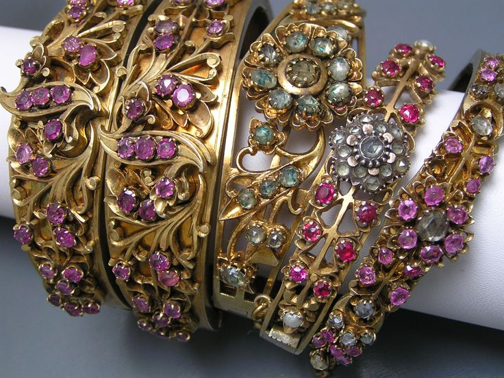 Collection of Vintage Gilt Silver Gemstones Bangles ~ Sri Lanka