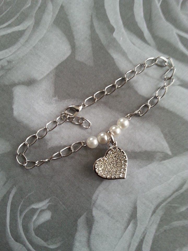 Silver tone with pearls and pave heart