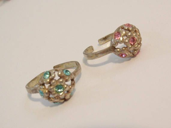 Sterling Silver Toe Ring Flower Floral Rhinestones Adjustable  #toerings #sterlingsilver #rhinestones #floral #vintage