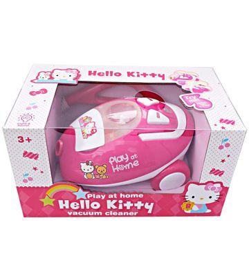 Vacum Cleaner Hello Kitty, berbentuk dan berfungsi layaknya vacum cleaner sungguhan. Dapat menyedot dan di lengkapi roda, selang dan stick.