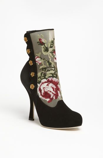 Dolce and Gabbana Tapestry Suede Bootie
