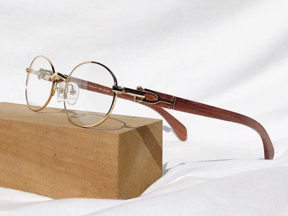 Cartier Style Wood Frame Glasses Oval Gold Frame Glasses Wood Glasses Frames Gold Frame