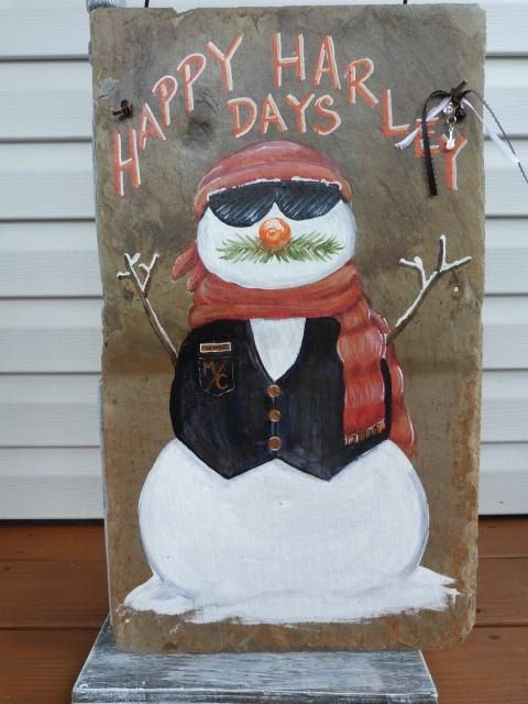 Harley Happy Days Snowman Slate by GratefulAcresArt on Etsy, $25.00 for future reference, lol