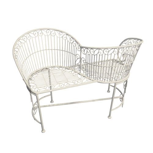 A beautiful love seat finished in antiqued cream with ornate ironwork decoration, is a great occasional seat for outdoors or indoors and looks fantastic in a conservatory piled with cushions.   http://www.english-heritageshop.org.uk/garden/garden-furniture/old-rectory-love-seat