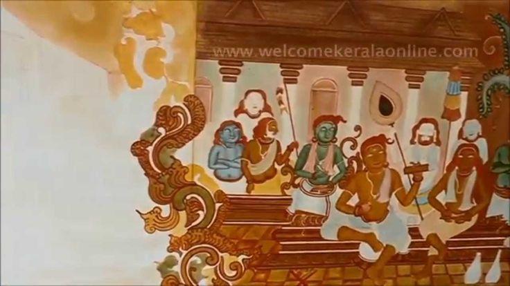 Traditional Kerala Mural painting drawing at the walls of District Collectors Chamber at Kozhikode, Kerala (India)
