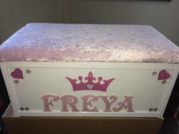 Toy Box/ princess dressing up box/ personalised storage box/ wooden toy chest/ cushioned seat toy box/ princess/ kids decor