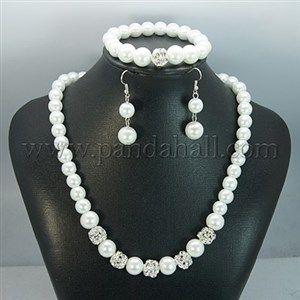 Glass Pearl Jewelry Sets: EarringsSJEW-JS00275-01-1