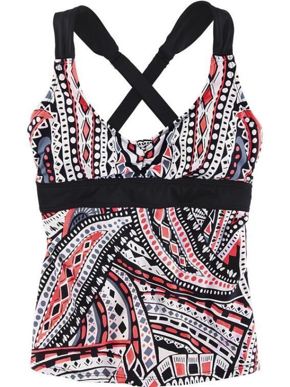 Aloha Tankini Top - Multi Print Black & White $64