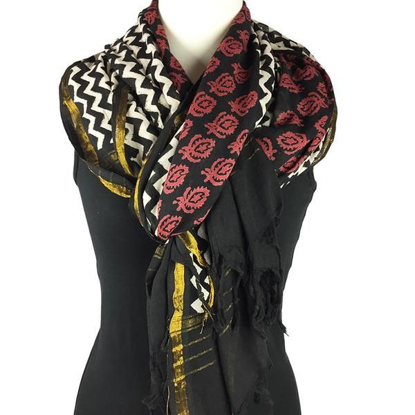 Fringed scarf - block printed handmade scarf