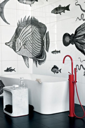 Tile designs (yes not stickers!) add a personalised touch. This underwater fantasy by Ludovica + Roberto Palomba. As modern as I'd go, but I like.