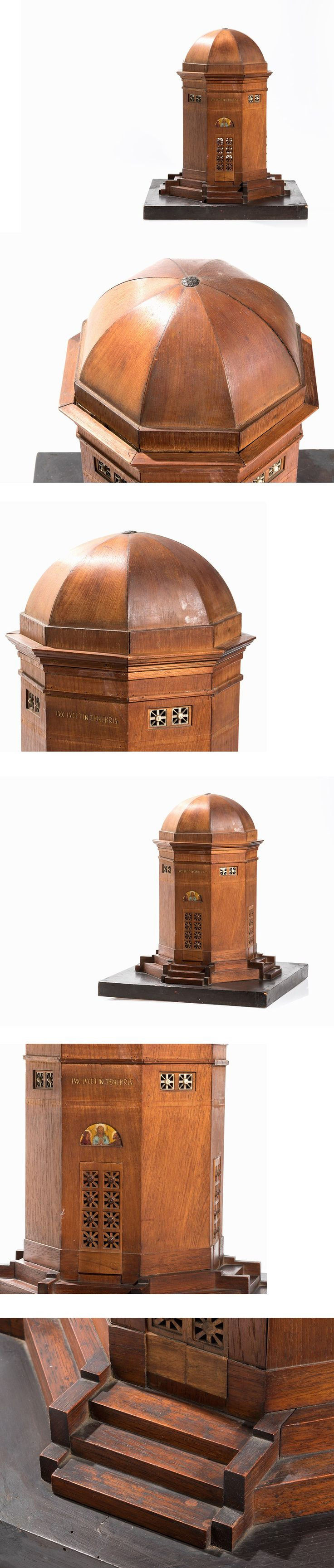 An Architectural Model of a Cupola, Wood, Ebonized Base, Mid-/Southern Europe, 19th C.