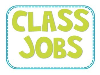 Class Jobs with Header (two choices) and job titles with descriptions. There are TONS of jobs to choose from that best fit your classroom needs! I have even added jobs I would have never thought of but now use in my classroom.