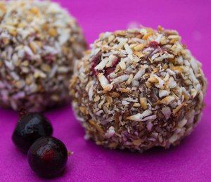 Blackcurrant and Toasted Coconut Truffles via http://underthebluegumtree.com