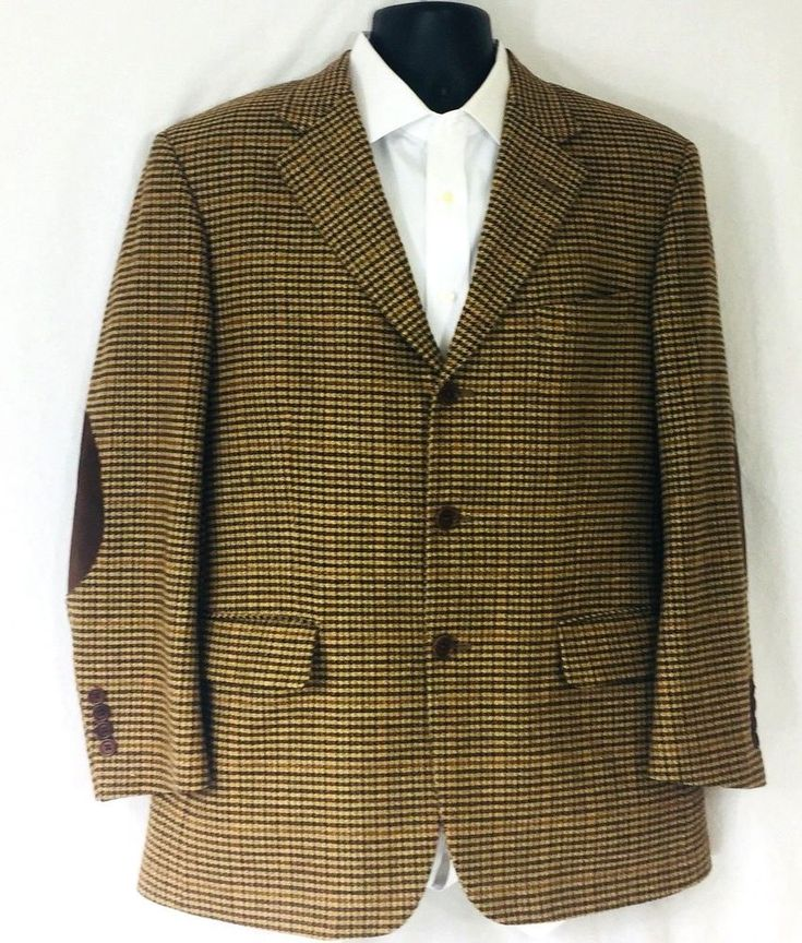 Brooks Brothers Wool Cashmere 40 Short Three Button Elbow Patch Jacket Tan Plaid  | eBay