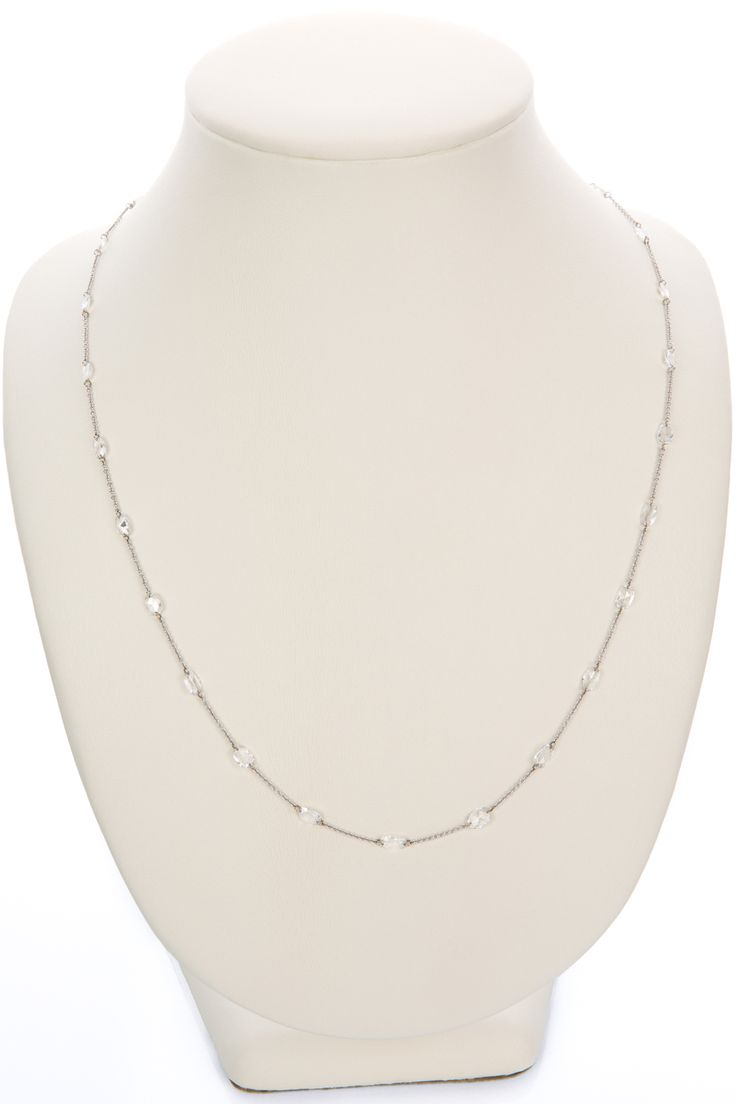 So pretty and delicate, this fine link chain in 18k white gold has end drilled diamonds weighing 3.74cts which are oval cut faceted little beauties. This necklace is so hard to photograph but believe me it looks amazing on the neckline. A simple sparkle but you can't miss it. Click on the link to check this one out. It's worth it!