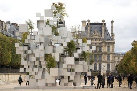 © Marc Domage Over the weekend, Japanese architect Sou Fujimoto exhibited an inhabitable sculpture of stacked and suspended aluminum cubes as part of