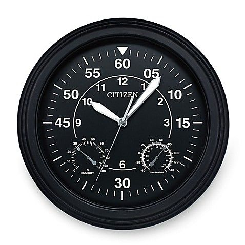 Add unique, contemporary style to an indoor or outdoor space with this Citizen Weather-Resistant Black Luminescent Wall Clock. Beautifully crafted with modern charm and wonderful details, this chic clock makes an impressive statement on any wall.