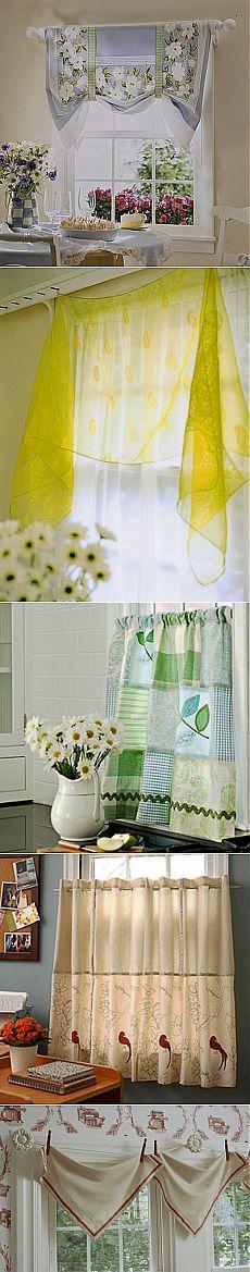 Мини-бикини: кухонные шторы из небольших кусочков ткани   Домохозяйки