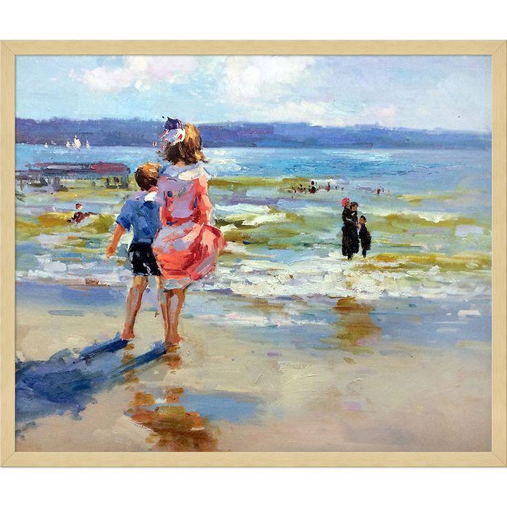 La Pastiche Edward Potthast 'At the Seashore' Hand Painted Framed Art