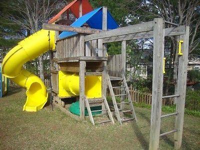 Plans (Blue Prints) To Build Kids Play Set Slide Playhouse (Swing set