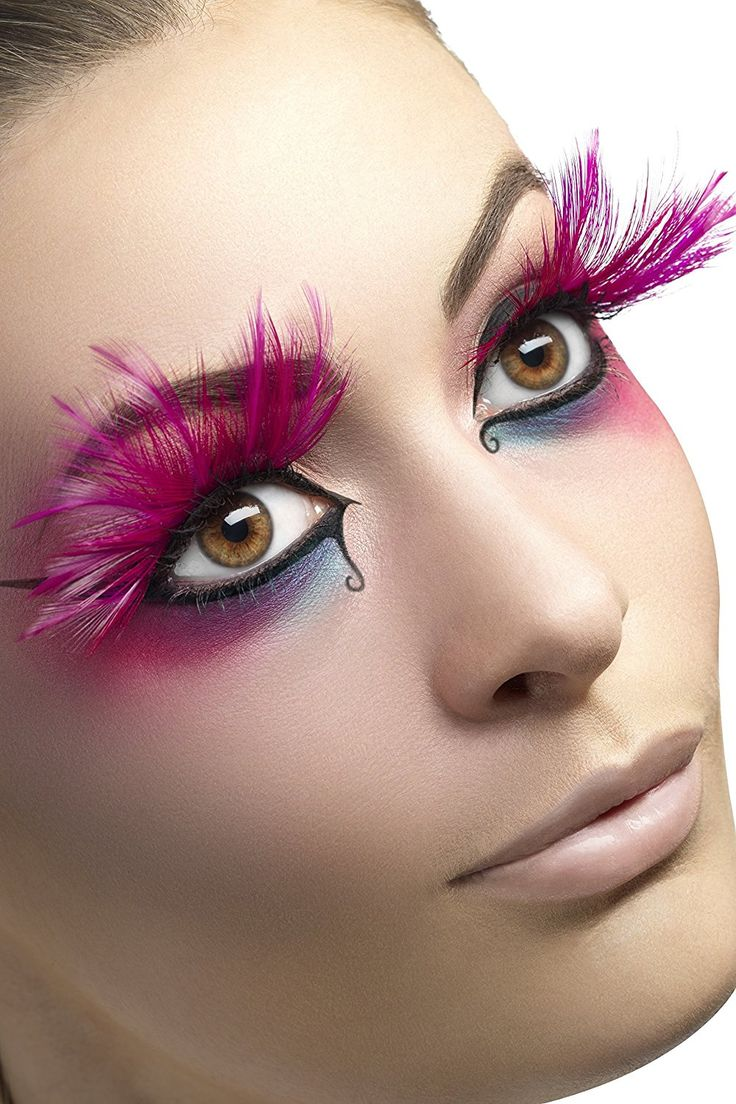 Smiffy's Eyelashes with Feather Plumes and Glue Pink