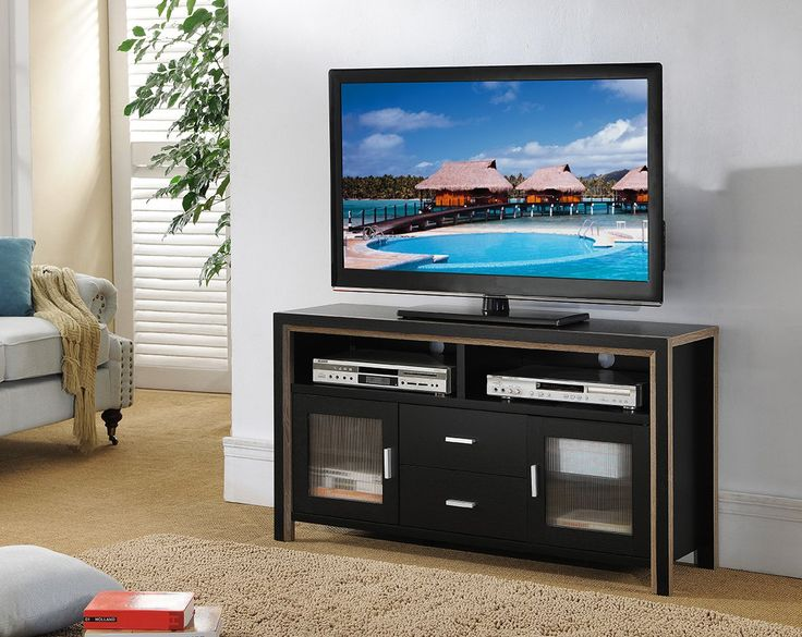 """47"""" Inch Smart Home Black TV Entertainment Media Center TV Stand. 47"""" Entertainment System TV Stand. Two Toned Finish in Dark Taupe & Black. Home Entertainment Storage Unit. Product Dimensions Approx: 47.25""""W x 15.5""""D x 25.5""""H. Assembly Required."""