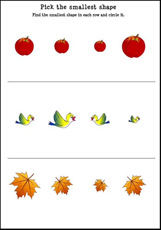 Learning Sizes Worksheet and Size Small Song for Kids!