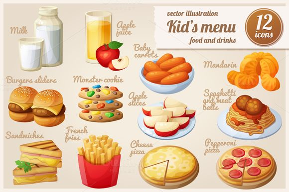 Kids menu: Cartoon vector food icons by Ann-zabella on Creative Market